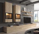 """Luxe TV Meubel Set - TV Kast Inclusief: 2 Hangende Kasten & 2 Gratis Wandplanken - Woonkamer """"Nature"""""""