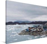Zee bij IJsfjord van Ilulissat in Groenland Canvas 180x120 cm - Foto print op Canvas schilderij (Wanddecoratie woonkamer / slaapkamer) XXL / Groot formaat!