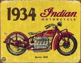 Signs-USA 1934 Indian Motorcycle - Retro Wandbord - Metaal - 40x30 cm