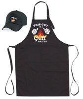 Mijncadeautje - BBQ-schort - This guy is a Grill Master - zwart - XXL 97 x 68 cm - gratis Barbecue cap