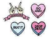 Strijk embleem 'Beat It snoephartjes patch set (4)' – stof & strijk applicatie