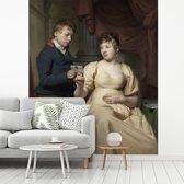 Fotobehang vinyl - De minnebrief - Schilderij van Willem Bartel van der Kooi breedte 195 cm x hoogte 240 cm - Foto print op behang (in 7 formaten beschikbaar)