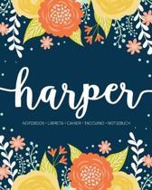 Harper: Notebook - Libreta - Cahier - Taccuino - Notizbuch: 110 pages paginas seiten pagine: Modern Florals First Name Noteboo