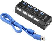 High Speed 4 Ports 3.0 USB hub Multi oplaadadapter met aan/uit knop en led verlichting.