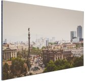 Columbus standbeeld in Barcelona Aluminium 120x80 cm - Foto print op Aluminium (metaal wanddecoratie)