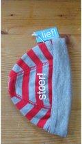 Lief! reversible streepmuts rood met grijs Stoer