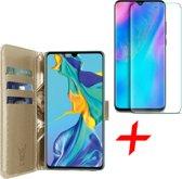 iCall - Huawei P30 Hoesje + Screenprotector Tempered Glass - Lederen TPU Book Case Portemonnee Flip Wallet - Goud