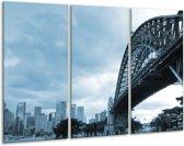 Schilderij | Canvas Schilderij Steden, Brug | Blauw | 120x80cm 3Luik | Foto print op Canvas