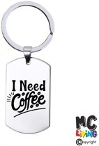 Sleutelhanger RVS - I Need Coffee