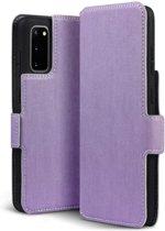 Samsung Galaxy S20 hoesje, MobyDefend slim-fit extra dunne bookcase, Paars - Geschikt voor: Samsung Galaxy S20