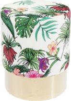 Kare Design - Poef Cherry - B35 X H42 Cm - Stof Jungle Print - Messing