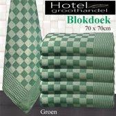 Blokdoeken - Pompdoek - Theedoeken Groen   set van 6 stuks   70x70cm  - Leverbaar in: 70x70.
