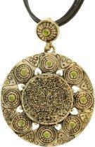 Vintage ketting goud-kleur met groene stenen