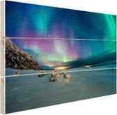 FotoCadeau.nl - Bevroren fjord met noorderlicht Hout 120x80 cm - Foto print op Hout (Wanddecoratie)