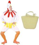 Paaskip verkleedpak maat M (48-50) met mandje voor volwassenen  - Kip/haan kostuum