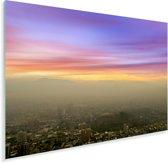 Uitzicht over een mistig Santiago in Chili Plexiglas 90x60 cm - Foto print op Glas (Plexiglas wanddecoratie)
