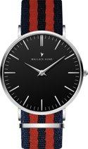 Wallace Hume Zwart - Horloge - NATO - Blauw/Rood