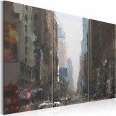 Schilderij - New York in de regen , grijs bruin , 3 luik