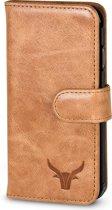Leder Wallet bookcase cover Apple iPhone X / Xs - Gazzi® Cognac
