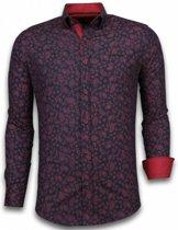 Gentile Bellini Italiaanse Overhemden - Slim Fit Overhemd - Blouse Leaves Pattern - Zwart - Maten: XXL
