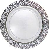 Decorline Luxe wegwerpbord - 26 cm - transparant-zilver - 10 stuks