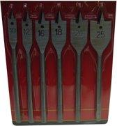 Speedboor / houtboor set 6 delig  maat 10 12 16 18 20 en 25 boren