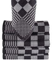 Homéé - Blokdoeken pompdoeken theedoeken zwart / wit |set van 6 stuks | 65x65cm