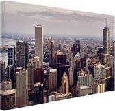 Stad Chicago Canvas 80x60 cm - Foto print op Canvas schilderij (Wanddecoratie woonkamer / slaapkamer) / Steden Canvas Schilderijen