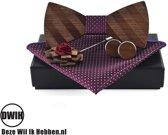 Walnoot strik met houten manchetknopen, Pochette en houten Reverse, Paars