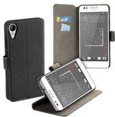 HC zwart bookcase voor de HTC Desire 825 wallet case hoesje
