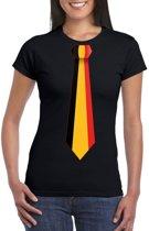 Zwart t-shirt met Belgie vlag stropdas dames 2XL