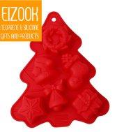 Kerstboom vorm met figuurtjes | rood