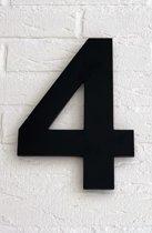 Huisnummer 4 Arial / 15 cm / mat zwart acrylaat 8 mm. Huisnummers met 5 jaar garantie.