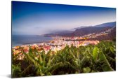 Skyline van de stad Santa Cruz de La Palma achter palmbomen Aluminium 90x60 cm - Foto print op Aluminium (metaal wanddecoratie)