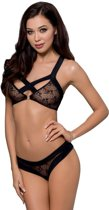 Passion woman sets - lingerieset - zwart - BH  - string - 75% polyester - L|XL