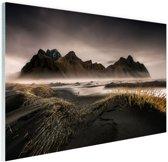 Noors berggebied en fjorden Glas 60x40 cm - Foto print op Glas (Plexiglas wanddecoratie)