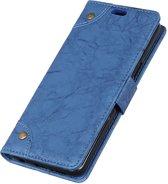 Mobigear Retro Luxe Wallet Hoesje Blauw Samsung Galaxy A8 2018
