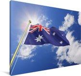 De vlag van Australië wappert in de lucht Canvas 140x90 cm - Foto print op Canvas schilderij (Wanddecoratie woonkamer / slaapkamer)