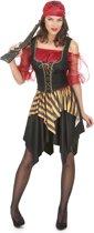 Zwart rood en goudkleurig piratenkostuum voor vrouwen - Volwassenen kostuums