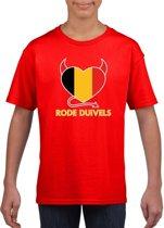Rood Belgie rode duivels hart supporter shirt kinderen - Belgisch shirt jongens en meisjes S (122-128)