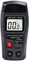 Houtvochtmeter - Inclusief batterij - Vochtmeter - Digitale vochtmeter - Vochtigheidsmeter - Bouwmaterialen - Meerdere houtsoorten - Inclusief beschermkap - Grijs/Zwart