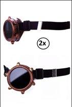 2x Steampunk bril monocle koper