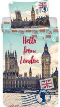 Hello from London, eenpersoons dekbedovertrek met 1 kussensloop.