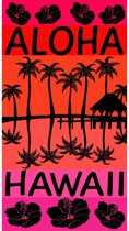 Luxe badlaken/strandlaken grote handdoek 100 x 175 cm Hawaii/strand print Aloha gekleurd