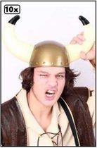 10x Viking helm plastic - carnaval horens viking festival optocht hoofddeksel hoed  helm