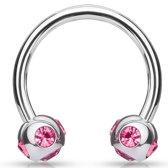 Wenkbrauwpiercing crystal ball ring roze