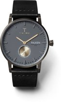 Triwa Walter Falken - Horloge - Leer 38 mm - Zwart