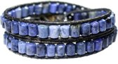 Bela Donaco Heren armband classic - Blauw - Sodaliet - Leer - Onyx - Sterling Zilver