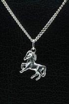 Zilveren Paard ketting hanger - klein