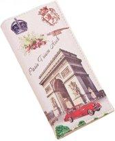 Fashionidea - Mooie witte kunstleren dames flap-over portemonnee met kroon en afbeeldingen van Parijs.